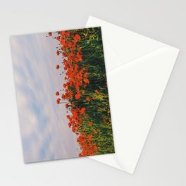 Poppies below clouds. Holme Hale, Norfolk, UK. Stationery Cards