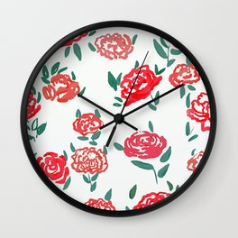 hand draw floral watercolor pattern design Wall Clock