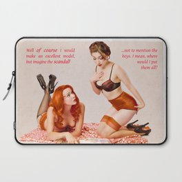 """Girl Talk"" - The Playful Pinup - Black and Pink Lingerie Pinup by Maxwell H. Johnson Laptop Sleeve"