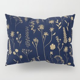 Hand drawn gold cute dried pressed flowers illustration navy blue Pillow Sham