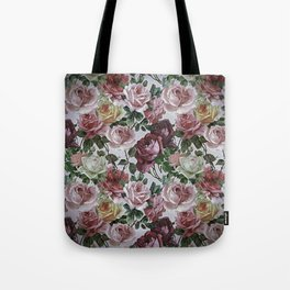 Vintage & Shabby chic - retro floral roses pattern Tote Bag