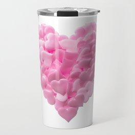 Big heart made of small pink hearts Travel Mug