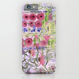 Watercolor Wildflower Garden Flowers Hollyhock Teasel Butterfly Bush Blue Sky iPhone Case