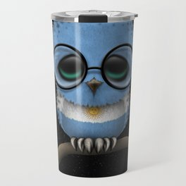 Baby Owl with Glasses and Argentine Flag Travel Mug