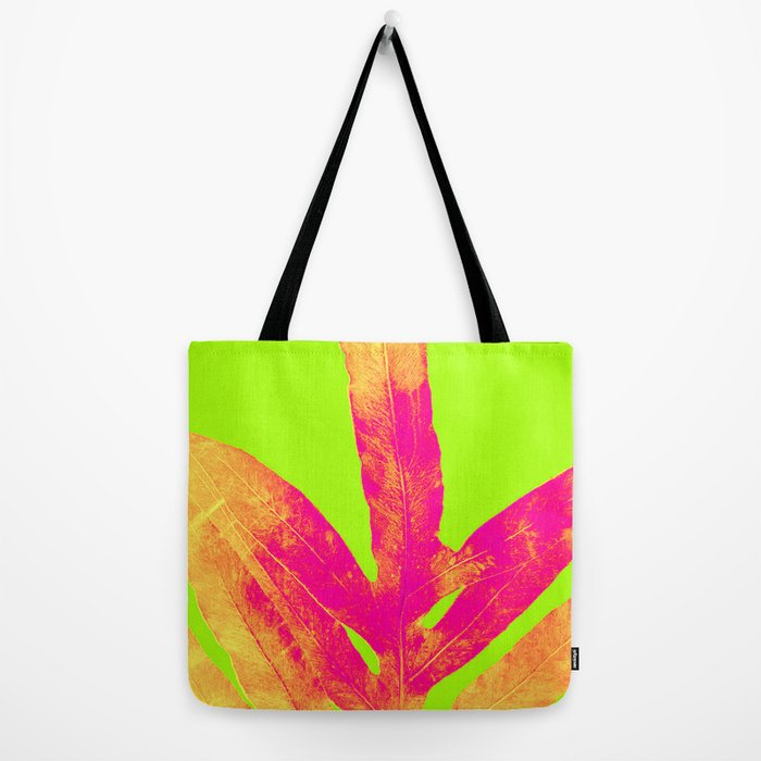 Green and Ultra Bright Coral Fern Tote Bag