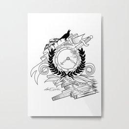 End Of Time - Black & White Metal Print