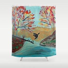 Autumn Duck Pond Shower Curtain