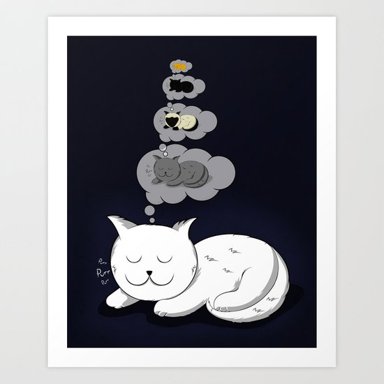 A cat dreaming of a cat that dreams of dreaming of a cat that dreams of dreaming of a cat. Art Print
