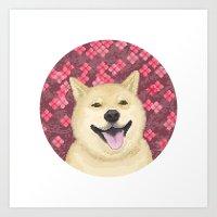 shiba Art Prints featuring pixel shiba by desks.lava