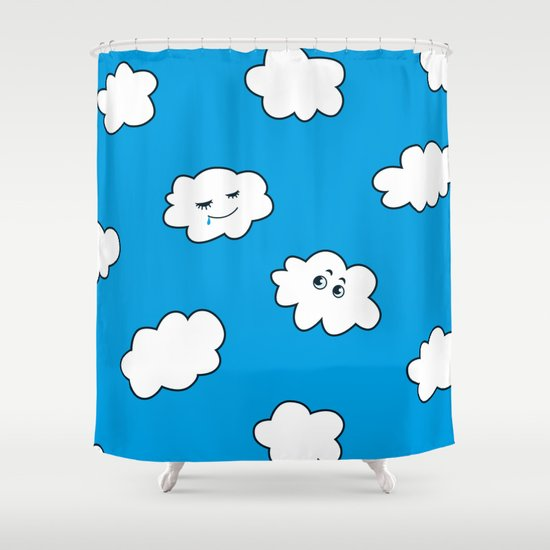 Blue Sky Happy Funny Clouds Shower Curtain