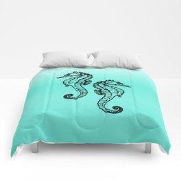 Aqua Seahorse Design Comforters