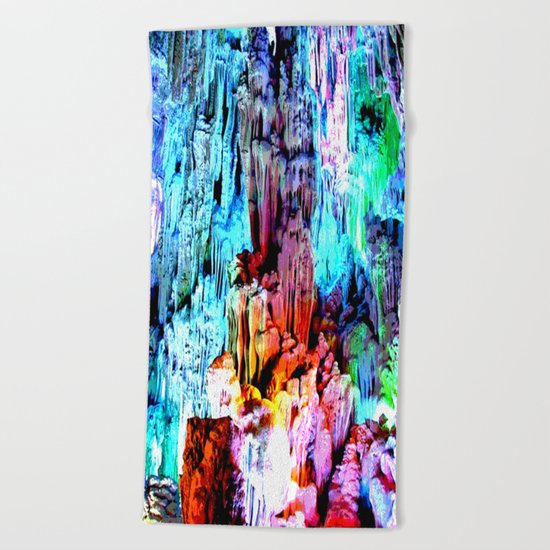 Cavern in Greece Beach Towel