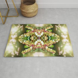Beautiful fresh Pieris Japonica flowers macro surreal shaped symmetrical kaleidoscope Rug