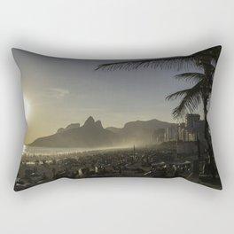 Sunset at Ipanema Beach with Pam Trees Rectangular Pillow