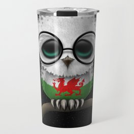 Baby Owl with Glasses and Welsh Flag Travel Mug