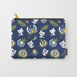 Cat with Ethnic Folk Flower Carry-All Pouch