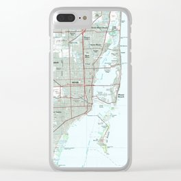 Miami Florida Map (1981) Clear iPhone Case