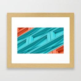 Construct Blue & Orange Framed Art Print