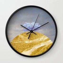 landscape 005: blue blossom tree on marble hill Wall Clock