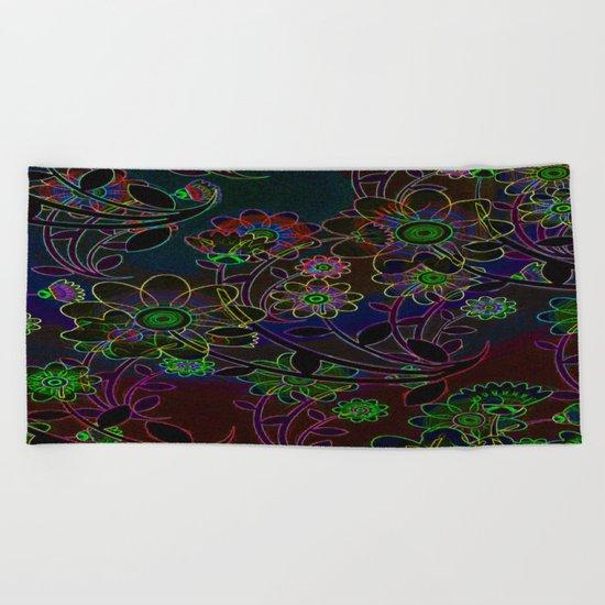 Neon Flower Art Beach Towel