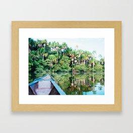 A Boat in the Amazon Rainforest Fine Art Print Framed Art Print
