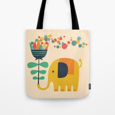 Elephant with giant flower Tote Bag