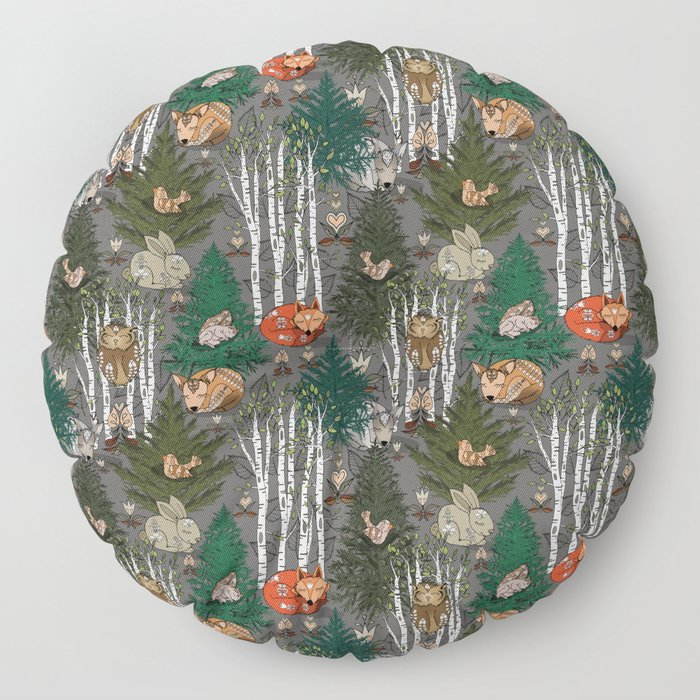 Sleepy Scandinavian Forest Floor Pillow