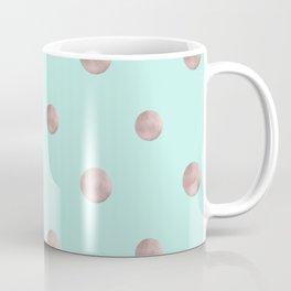 Happy Polka Dots Rose Gold on Mint #1 #decor #art #society6 Coffee Mug