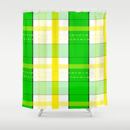 Yellow and Green Plaid Shower Curtain