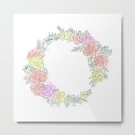 Friday fresh collection , pastel colors flowers . Home decor Metal Print