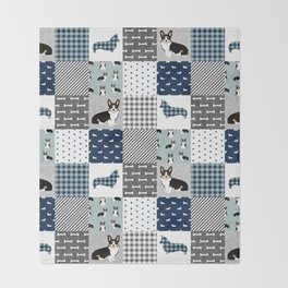 Tricolored Corgi Patchwork - classic buffalo plaid, plaid, dog dad, dog lover, dog design, cute dogs Throw Blanket
