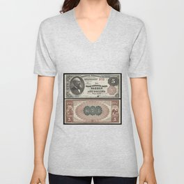 1882 U.S. Federal Reserve Five Dollar Warren, Rhode Island Bank Note Unisex V-Neck