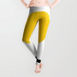 Midcentury Yellow Minimalist Sunset With Black Stripes Leggings