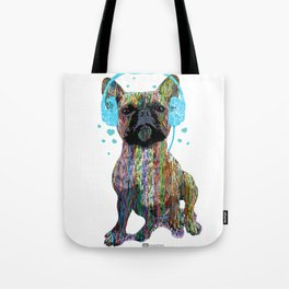 French Bulldog With Headphones Tote Bag