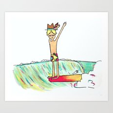 hang 10 surf dude Art Print