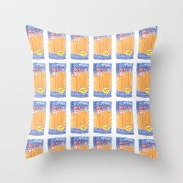 Thai Bento squid snack illustration Throw Pillow