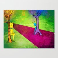 lovers Canvas Prints featuring Lovers by KadetKat