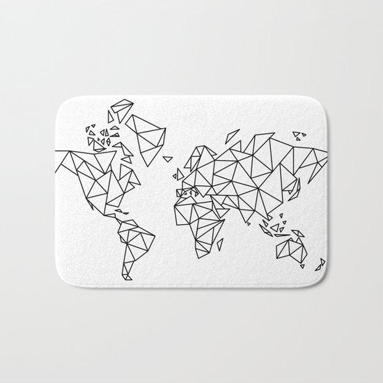 Geometric Low Poly Map of The World / Polygon geometry Bath Mat