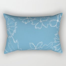 Blue and White Floral Rectangular Pillow