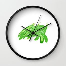Illustration of fresh snow peas Wall Clock