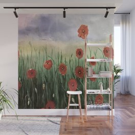Poppies Waiting For A Storm Wall Mural