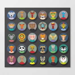 animals faces circle icons set in Trendy Flat Style. zoo Canvas Print