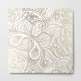 Elegant hand drawn white faux gold luxury floral Metal Print