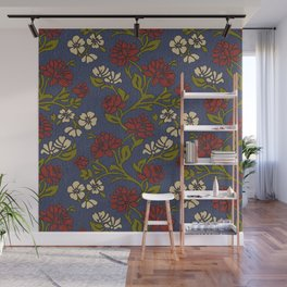 Vintage style victorian floral upholstery fabric Wall Mural