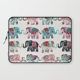 Elephant Collection – Turquoise & Coral Palette Laptop Sleeve