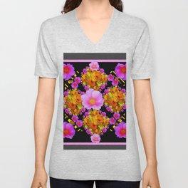 Wild Pink & Fuchsia Roses Daffodil Grey Pattern Unisex V-Neck
