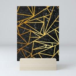 GEOMETRIC BLACK MARBLE Mini Art Print
