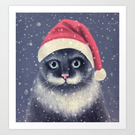 Christmas cat with a mustache Art Print