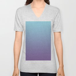 Pantone Chive Blossom Purple 18-3634 and Limpet Shell Blue 13-4810 Ombre Gradient Blend Unisex V-Neck