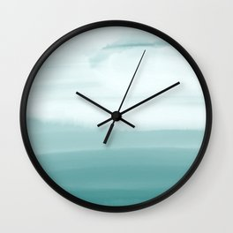 Ocean Sky // Surf Waves Teal Blue Green Water Clouds Watercolor Painting Beach Bathroom Decor Wall Clock